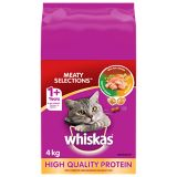Whiskas Meaty Selections, 4 kg | Whiskas | Savoury combination of bite-size kibble and crunchy meaty pockets, double-basted with natural juices for extra flavour Tantalize your cat's taste buds with the