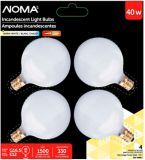 Ampoules boule incandescence Sylvania 40 W G16.5, blanc, paq. 4 | NOMA | Canadian Tire