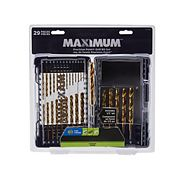 MAXIMUM 7 Edge Titanium Coated Drill Bit Set, 29-pc