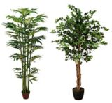 Assorted Artificial Bamboo & Ficus Tree in Plastic Pot, 6.5-ft | Danson