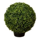 Potted Artificial Topiary Boxwood Ball, 18-in | Danson