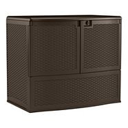 Vertical Rattan Deck Box with Shelf