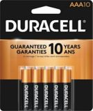 Duracell Copper Top Alkaline AAA Batteries, 10-pk | Duracell | Duracell Copper Top AAA Alkaline Batteries with Duralock Power Preserve™ Technology to preserve battery power for up to 10 years in storage Long-lasting power f