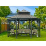 Sunjoy Younge Round Gazebo with Faux Copper Top | Sunjoy