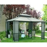 Sunjoy Therese Gazebo with Black Top, 10 x 12-ft |