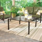 Monterey Collection Steel Square Slatted Top Patio Coffee Table | For Living