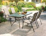 Parsons Collection Glass Top Patio Dining Table, 61x38-in | For Living