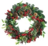 Cashmere Holiday Wreath with Berries and Pinecones, 30-in | Holiday Collection
