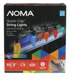 NOMA 100 Outdoor C9 Quick Clip LED Christmas Lights, Assorted Colours | NOMA