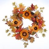 Burlap and Sunflower Wreath, 24-in |