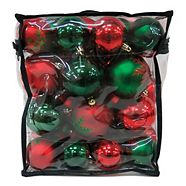 Holiday Collection Unbreakable Ornament Set with Storage Case, Red, 50-pc