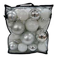 Holiday Collection Unbreakable Ornament Set with Storage Case, Silver, 50-pc
