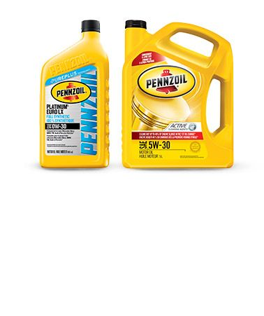 Pennzoil Conventional Jugs and Ultra Platinum Synthetic Euro Bottles