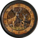 Nostalgic Buck and Doe Metal Wall Clock, 15-in   Rivers Edge Gifts   Canadian Tire