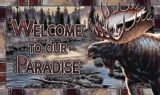 Tapis d'entrée Welcome To Our Paradise, orignal, 18 x 30 po