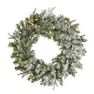CANVAS Pre-Lit Lifelike Frosted Fir Wreath 24-in