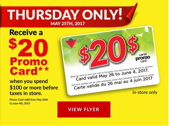 Receive a $20 Promo Card** when you spend $100 or more before taxes in store