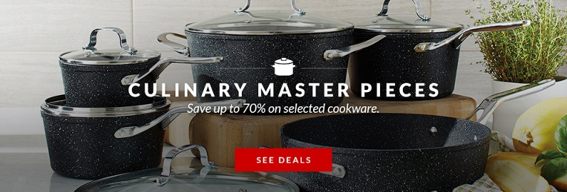 Save up to 70% on selected cookware.