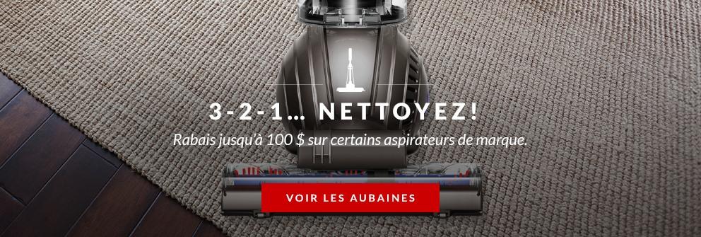 Rabais jusqu'à 100$ sur certains aspirateurs de marque.