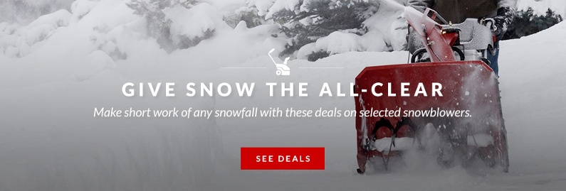 Save big on selected snowblowers