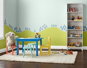 Shop for Premier paint that works best in kids' rooms.