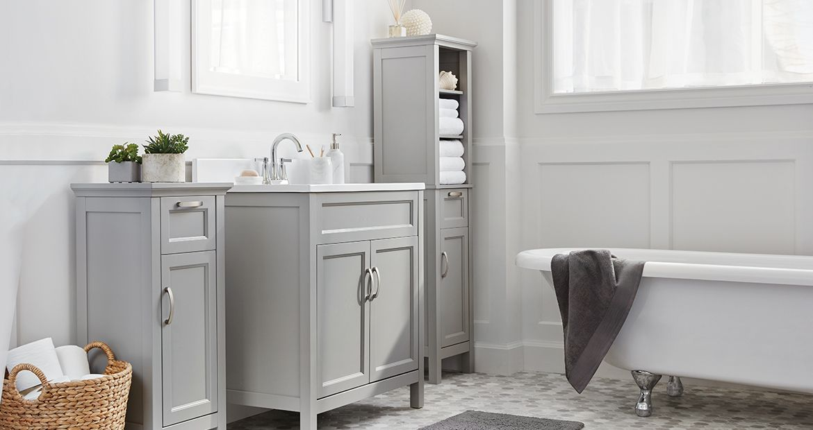 Adding organization style and storage space to your bathroom is easy with our selection of vanities cabinets towels and accessories