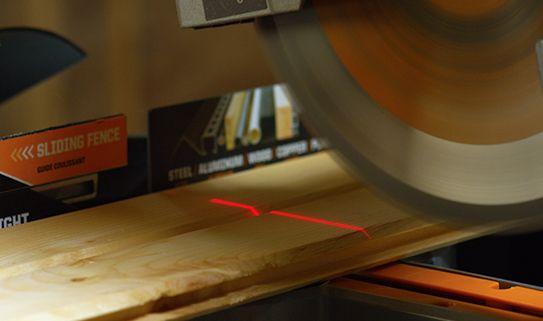 Laser guide on a mitre saw