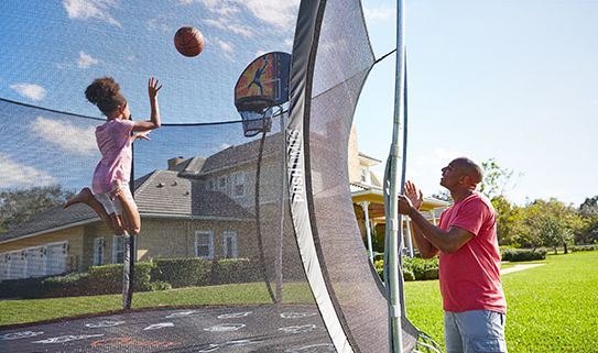 Score big with a trampoline basketball hoop