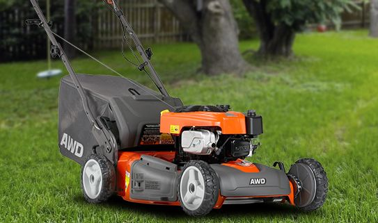 Check out our self-propelled gas lawn mowers
