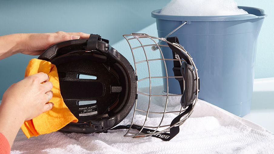 how to wash hockey equipment