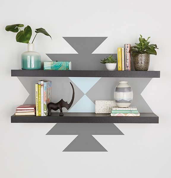 Paint a pattern behind your shelf with Premier.