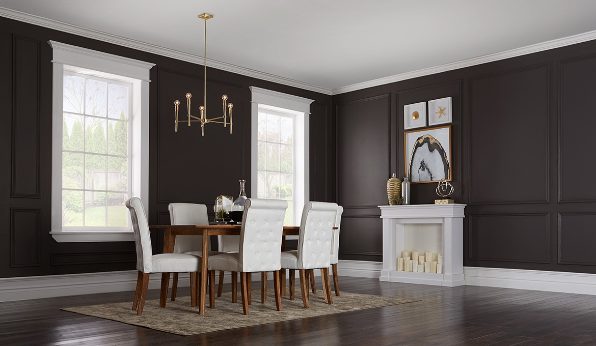 Create a dramatic dining room with Premier paint.