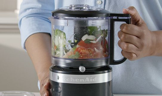 A food processor with 200 watts or less is a good small chopper.