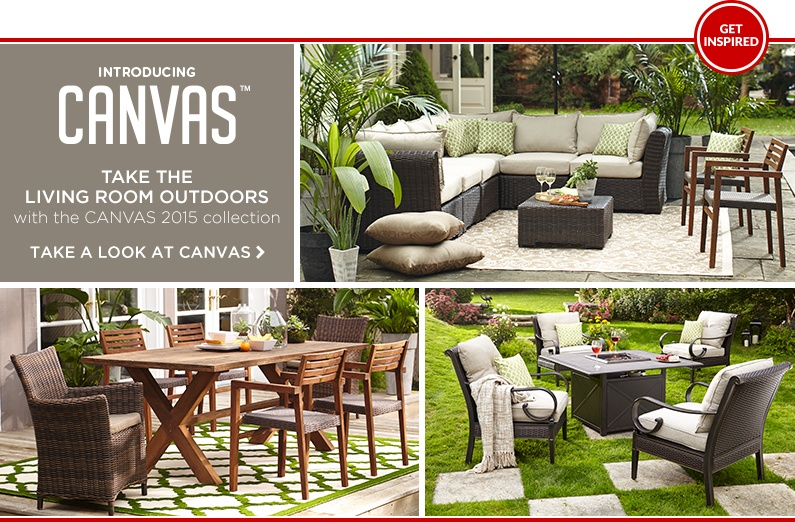 Take the living room outdoors with the Canvas 2015 patio and décor collection
