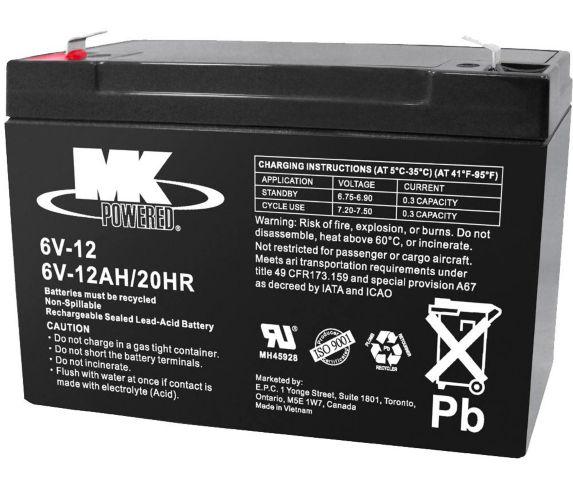 Batterie au plomb-acide hermétique, 6 V, 12 Ah