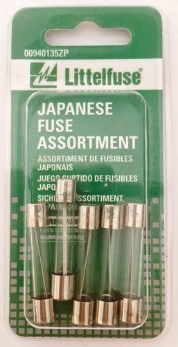 Fusibles en verre Littelfuse, japonais, variés, paq. 5