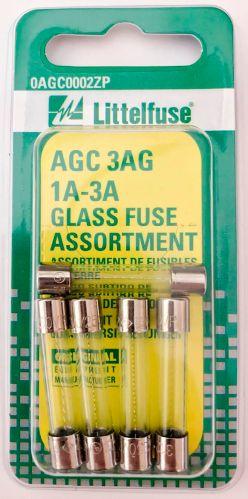 Littelfuse AGC 3AG 1A-3A Glass Fuse Assortment, 5-pk