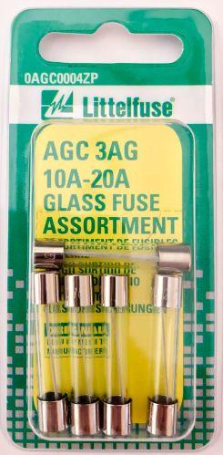 Littelfuse AGC 3AG 10A-20A Glass Fuse Assortment, 5-pk