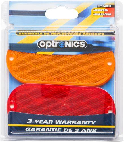 Optronics Oblong Reflectors, Red/Amber, 4-pk