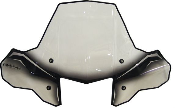 Cobra ProTEK ATV Windshield, Headlight Cut-Out, Clear/Black
