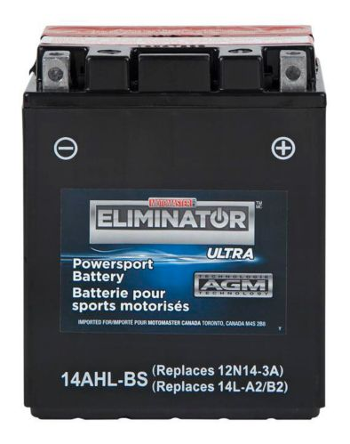 MOTOMASTER ELIMINATOR AGM Powersports Battery, 14AHL-BS