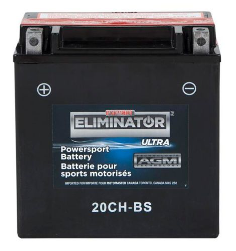 MOTOMASTER ELIMINATOR AGM Powersports Battery, 20CH-BS