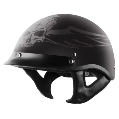 VCAN Shorty Classic Half-Shell Cruiser Helmet, Skull Graphic Product image