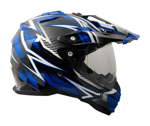 Raider Elite Dual Sport Eclipse Helmet, Blue/Black
