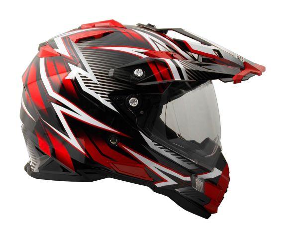 Raider Elite Dual Sport Eclipse Helmet, Red
