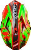 Casque pour moto tout-terrain et motocross Just1 Pro Rave, rouge/vert lime | Just1 Racing | Canadian Tire