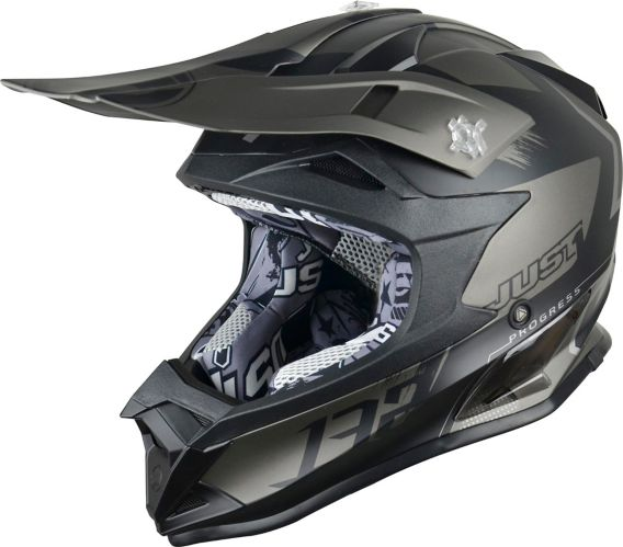 Just1 Pro Kick Titanium Off-Road Dirt Bike MX Helmet, Black
