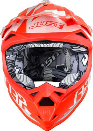 Just1 Pro Kick Off-Road Dirt Bike MX Helmet, White/Red