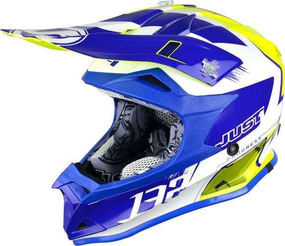 Casque pour moto tout-terrain et motocross Just1 Pro Kick, blanc/bleu/jaune Image de l'article