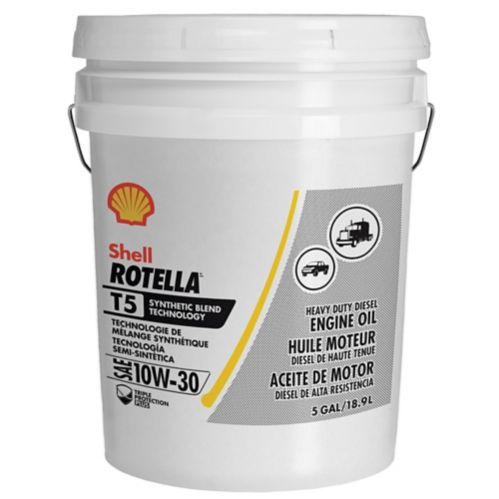 Shell Rotella® T5 10W-30 Synthetic Blend Heavy Duty Diesel Engine Oil, 18.9-L Product image